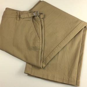 Chic Burberry Tan Logo Buckle Wide Leg Trousers